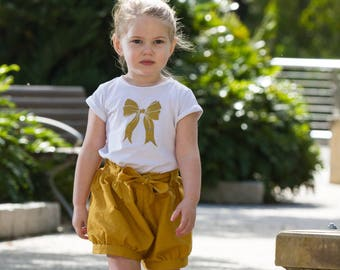 Girls bloomers - girls shorts - shorties - girls pants - mustard shorts - infant bloomers -toddler bloomers -summer bloomers