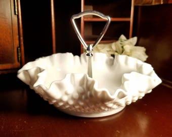 Fenton Milk Glass Hobnail Bon Bon Tray with Metal Handle, Candy Nut Dish, Vintage Kitchen, Retro Table, Authentic Fenton Handmade