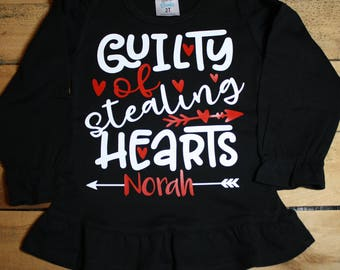 Valentines Day Shirt Guilty of Stealing Hearts Personalized with Name Customized
