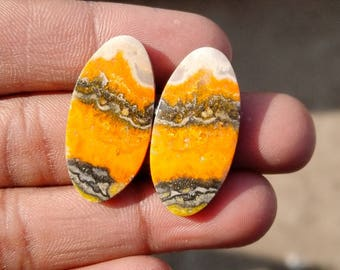 New year sale 29.80cts Bumblebee Pair natural Gemstone ,cabochon , smooth,  oval shape,  28x14x3mm size, AM138