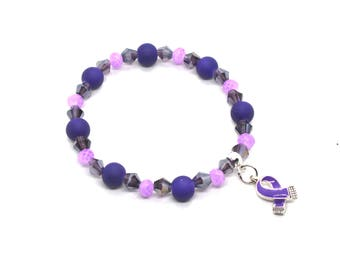 Colitis Awareness - Colitis Bracelet - Colitis Jewelry - Colitis Charm - Colitis Warrior - Colitis Ribbon - Colitis Support Gift - Colitis