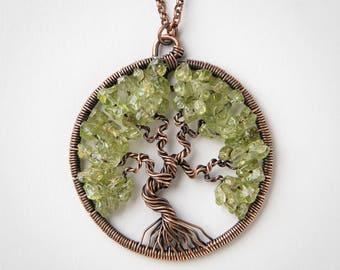 Tree of Life Pendant - Peridot Pendant - Wire Wrapped Pendant