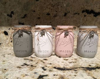 Chalk painted 16oz distressed BALL mason jars with charms if you choose