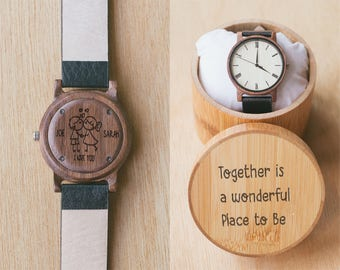 Personal Mens Watch, Wooden Watch, Mens Engraved Watch for him, Boyfriend Gift, Husband Gift, Watches for men, Engraved Watches for him, Ivo