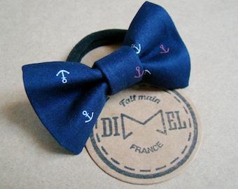 Anchor on Navy Blue elastic woman girl hair bow