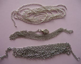 Set of 3 metal chains silvered, different links