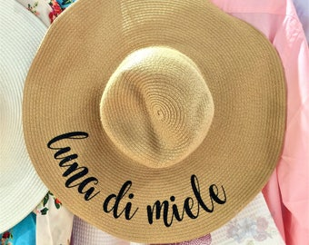 Italian Beach Hat - Floppy Hat - Personalized Floppy Hat - Italian Honeymoon Gift - Bridal Party Hat - Hat Wedding Gift - Bridesmaid Gift