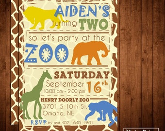 Zoo Animals Birthday Invitation