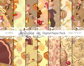 Thanksgiving Digital Paper Pack, Digital paper,Commercial use,Party seamless paper, Seamless pattern, Pumpkin Paper, Autumn Paper Pack, Fall