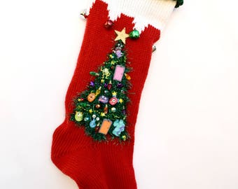Knit Personalized Christmas Stocking Red Monsters Inc