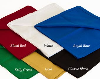 Cotton Napkins in Solid Colors with Mitered Corners, Set of Four Solid Color 18 x 18 Napkins, Custom Sized Napkins