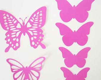 Set of 6 butterflies rosefuchsia