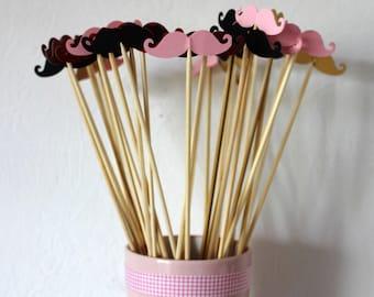 Pink mustache photobooth 10 skewers