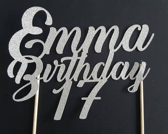 Cake decoration - birthday + name and age - glittery silver Topper - cake topper