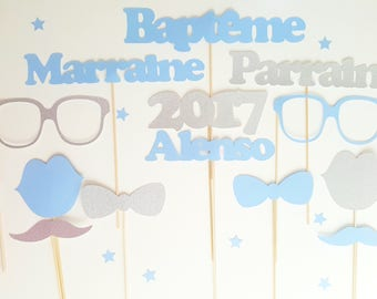 14 embellishments for photobooth-baptism-custom name blue and silver glitter