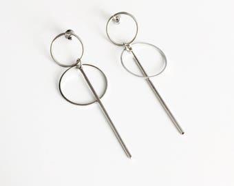 Double circle long bar earrings