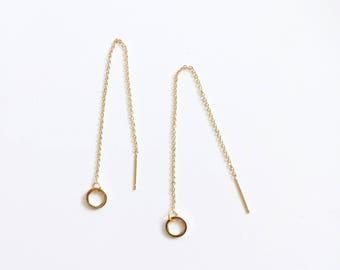 small circle threader earrings