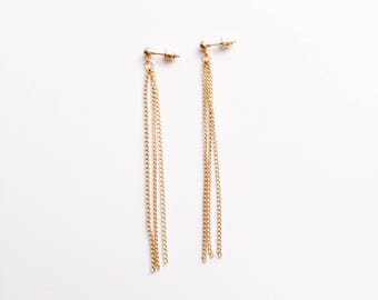 Long triple chain earrings