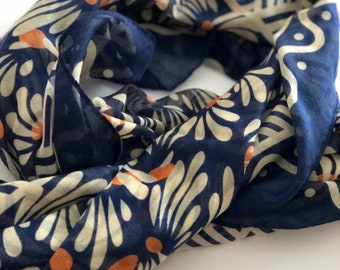 Tassel Floral scarf, Floral summer scarf with tassel, Spring Summer scarf, 2018 summer scarves, Unique gift for wife