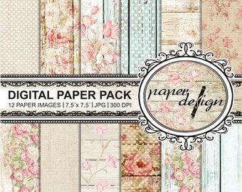 "Scrapbook, shabby chic, roses, ""digital paper pack"", wood, printable background, scrapbooking, paper, #05"