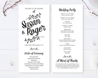Wreath Wedding Programs Cheap Printed On White Premium Paper Calligraphy For