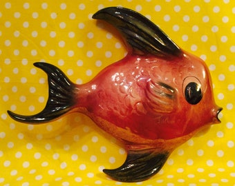 Ceramicraft Anthropomorphic Maroon and Black Fish Wall Pocket made in California circa 1950s