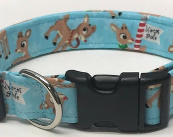 dog collar, Rudolph 2, Christmas, holiday dog collar, Christmas dog collar, xmas dog collar, Rudolph, Santa, Christmas collar