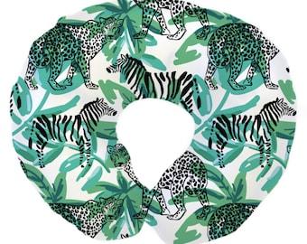 Safari Jungle | Zebra, Palm, Gender Neutral Nursery | Baby Safari Nursing Pillow Cover