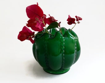 Vintage Fenton Glass Emerald Green Overlay Vase - 1950's  Vase - Fenton Emerald Green Cased Glass - White Interior - Melon Rose Bowl