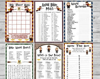 Wizard Kids Harry Potter Set Of 6 Baby Shower Games   Instant Printable  Download