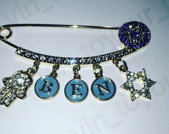 Stroller pin. Jewish baby gift. Jewish stroller pin. Hamsa pin.  Evil eye pin.