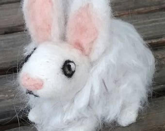 Felt Angora Rabbit - Angora Wool - Felted Rabbit - Wool Rabbit - Angora Rabbit - Angora from my own Rabbit - Small Angora Rabbit - Vermont