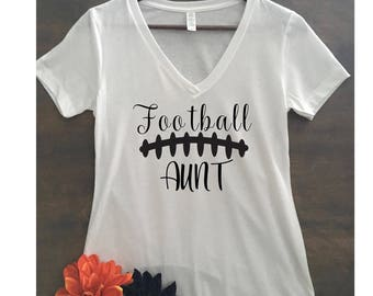 Football Aunt Racerback Tank or V-neck or Crew neck Tee/football season/moms who love football/customize the colors