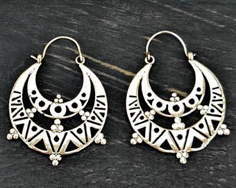 Silver Aztec Earrings, Tribal Silver Earrings, Tribal Earrings, Tribal Hoop Earrings, Ethnic Earrings, Silver Hoop Earrings, Boho Earrings