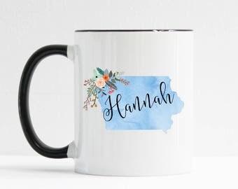 Iowa Mug / Personalized Mug / Custom State Mug / Friend Gift / Iowa Gift /  11 or 15 oz / Going Away Gift / Moving Gift