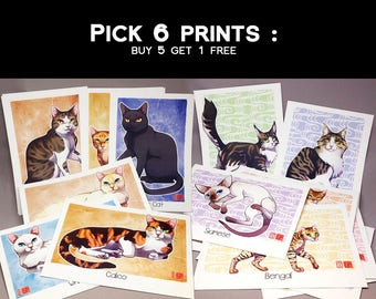 A5 Cat Prints - Pick 6 - Watercolor Illustration Postcards