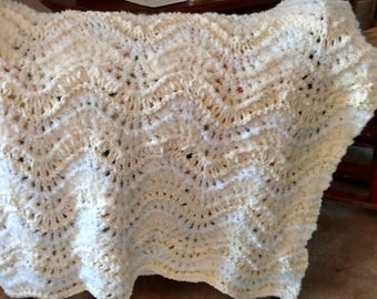 Beautiful Hand Knitted White & Cream Baby Blanket