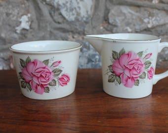 Vintage Irish Ceramic Milk Jug and Sugar Bowl - Carrigaline Pottery Rose Flower Design Creamer