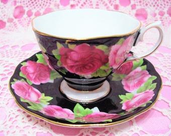 Beautiful Vintage Royal Albert Black OLD ENGLISH ROSE Cup & Saucer.