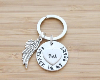 hand stamped keychain | forever in my heart