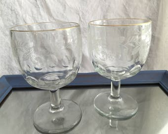 Clear Etched Grapevine Thumbprint Goblets (set of 2)