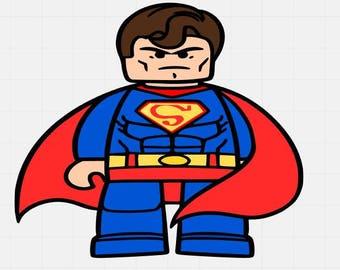 Superman Lego man, Superman Lego Svg, Svg File, Svg Cutting File, Svg For Silhouette, Svg For Cricut, Lego Man Svg  File