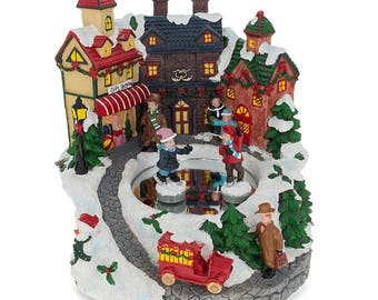"""6.7"""" Winter Village with Rotating & Skating Children Christmas Musical Figurine"""