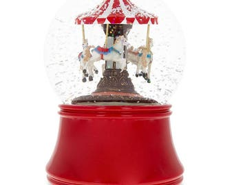 "6.8"" Carousel with Rotating Horses Music Box Snow Globe"