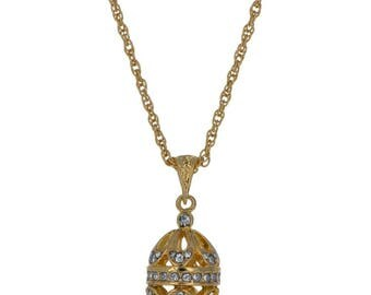Gold Tone Brass 57 Crystals Brass Royal Egg Pendant Necklace 22""