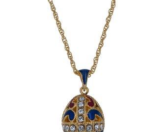 "Gold Tone 22 Crystal Brass Blue Royal Egg Pendant Necklace 22"""