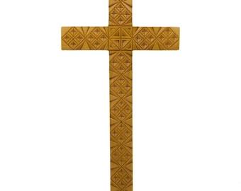 """8"""" Hand Carved Ukrainian Oak Wood Wall Cross"""