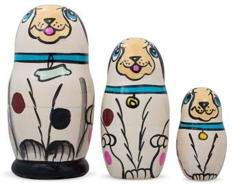 "4.25"" Set of 3 White Dog with Bone Collar Wooden Russian Nesting Dolls Matryoshka"