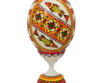 "3.75"" Two Fish Ukrainian Wooden Easter Egg Pysanky with Stand"