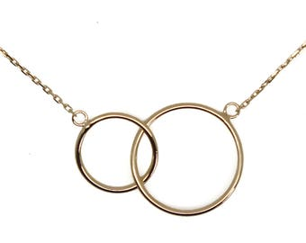 Necklace handmade rings interlaced plated gold